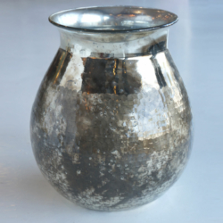 AH001 hammered cut vase black oxidized
