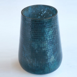 AH008 hammered cut vase shiny teal black oxidized
