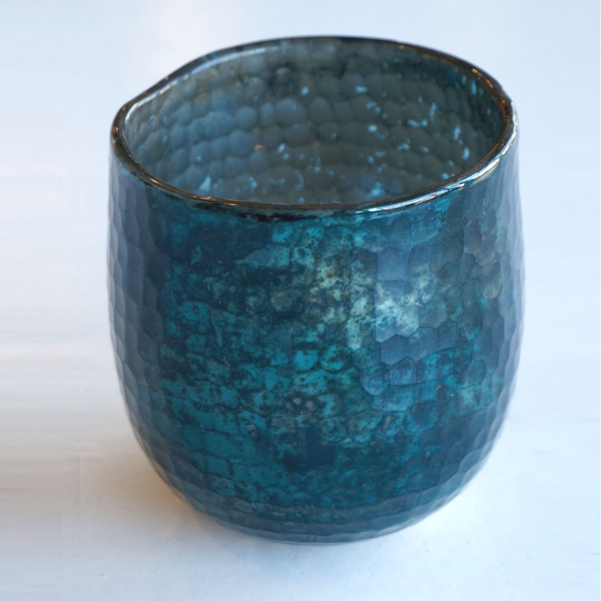 AH011 vase in shiny teal and black oxidization with hammered cut edge