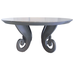 High gloss Silver Round dining table with twirly leg