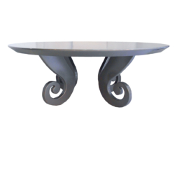 High gloss Silver round coffee  table with twirly leg